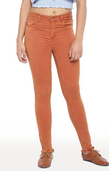 globus   Brown Solid Slim Fit Jeans