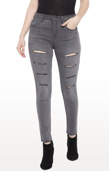 globus | Grey Ripped Tapered Jeans