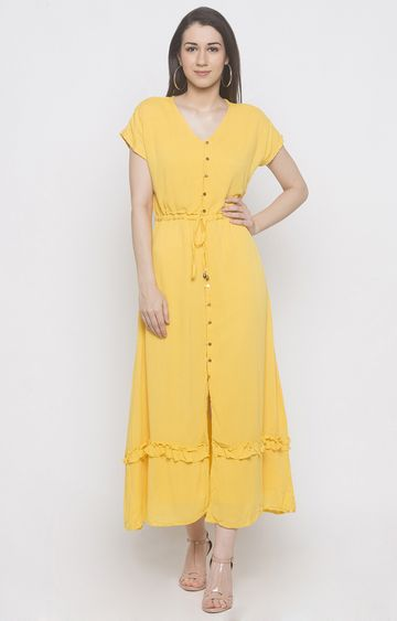 globus | Yellow Solid Maxi Dress