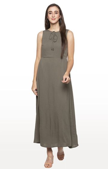 globus | Olive Solid Maxi Dress