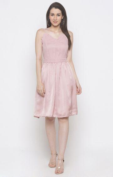 globus   Pink Solid Skater Dress