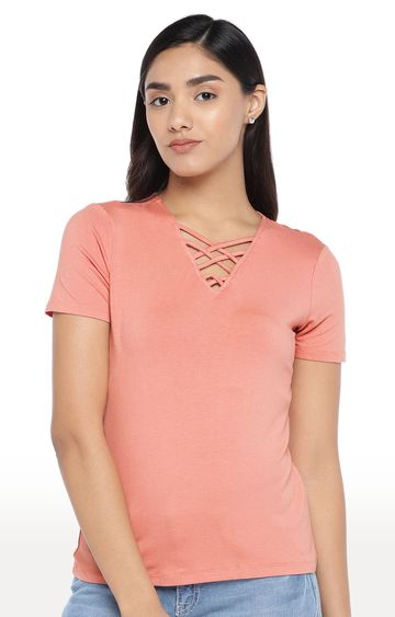 globus | Peach Solid T-Shirt