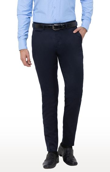 globus | Blue Solid Flat Front Formal Trousers