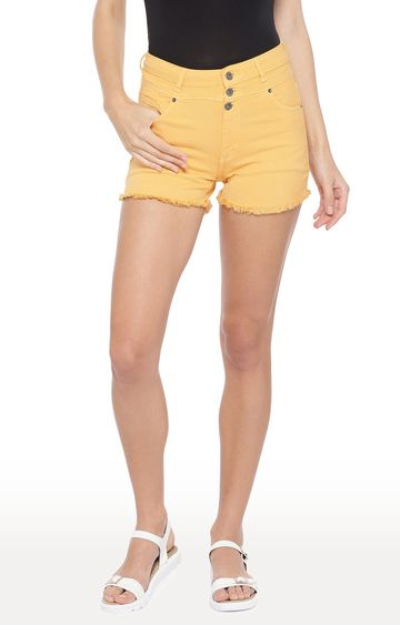 globus | Yellow Solid Slim Fit Shorts