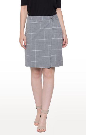 globus | Grey Checked Straight Skirt