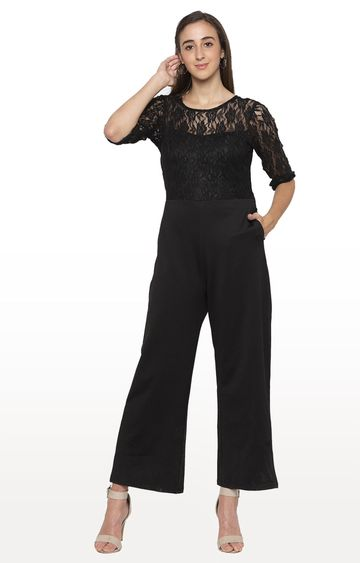 globus | Black Embroidered Jumpsuit