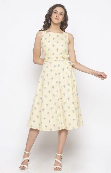 globus | Yellow Printed Skater Dress