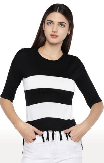 globus | Black and White Colourblock Top