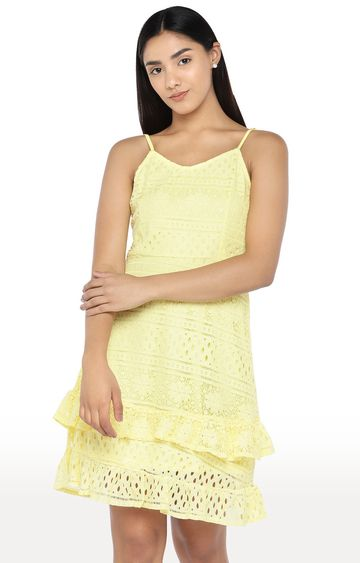 globus | Yellow Solid Skater Dress