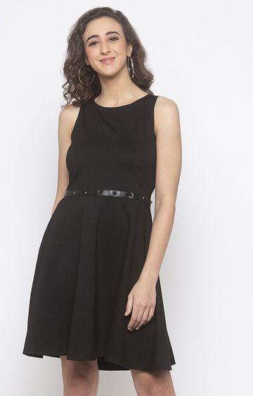 globus | Black Solid Skater Dress