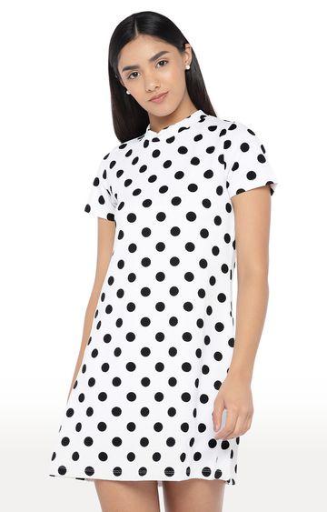 globus | White Polka Dots Shift Dress