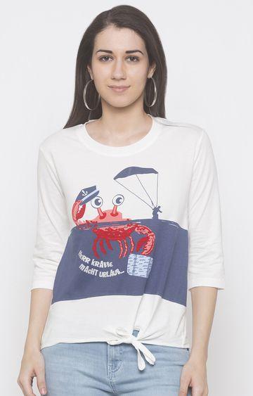 globus   White Printed T-Shirt