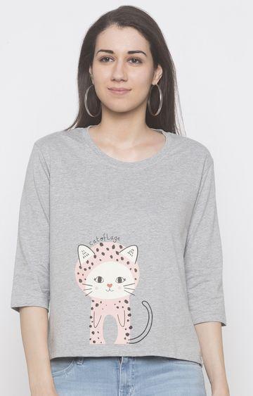 globus   Grey Printed T-Shirt