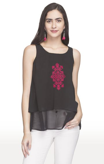 globus | Black Embroidered Layered Top