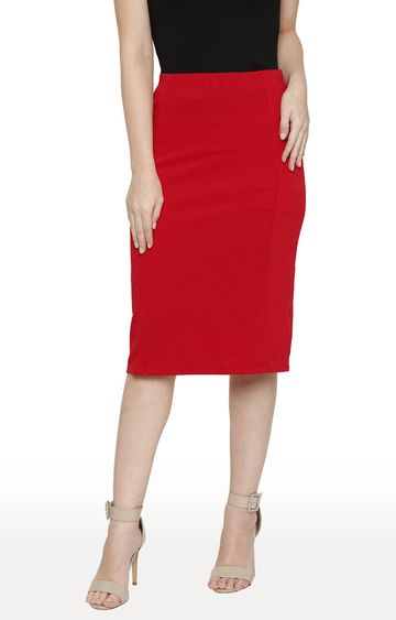 globus | Red Solid Straight Skirt
