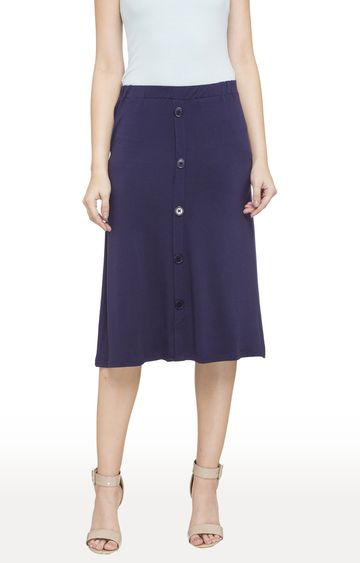 globus | Blue Solid Mock Button Down Placket Skirt