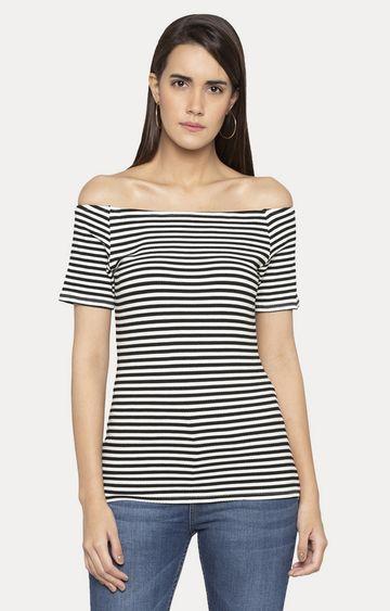 globus | Black Striped Off Shoulder Top