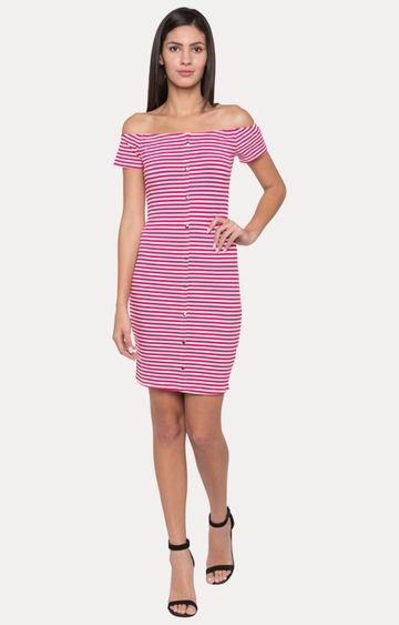 globus | Pink Striped Off Shoulder Dress