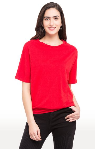 globus | Red Solid Dolman Sleeves Blouson Top