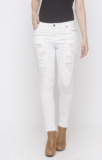 globus   White Ripped Tapered Jeans