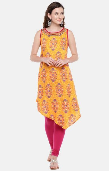 globus | Yellow Printed Asymmetric Kurta