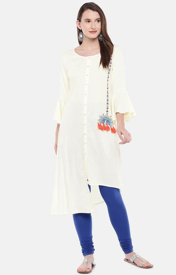 globus | Beige Embroidered Asymmetric Kurta