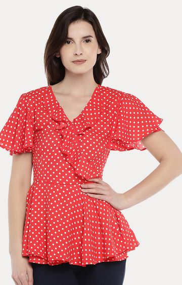 globus | Red Polka Dots Peplum Top