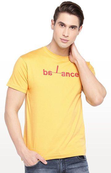globus | Mustard Printed Round Neck T-Shirt