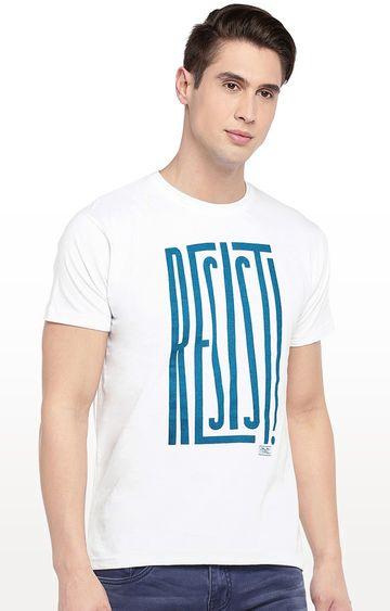 globus | White Printed Round Neck T-Shirt