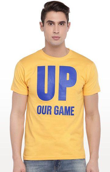 globus | Yellow Printed Round Neck T-Shirt