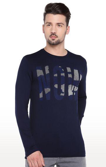 globus   Navy Blue Printed T-Shirt