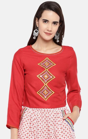 globus | Red Embroidered Top