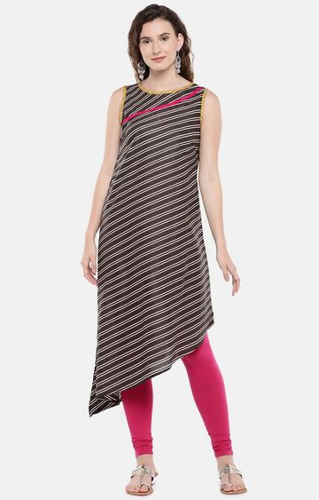globus | Brown Striped Asymmetric Kurta