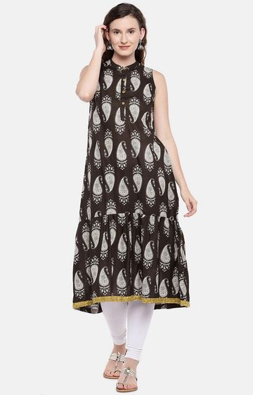 globus | Brown Printed Anarkali