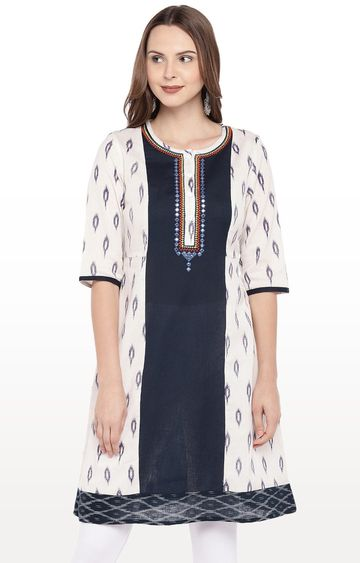 globus | Beige and Navy Printed A-Line Kurta