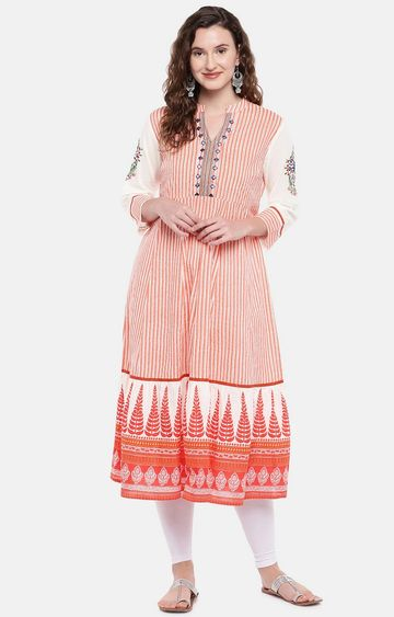 globus | Red Striped Anarkali
