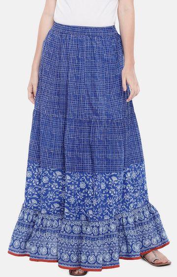 globus   Blue Printed Flared Skirt