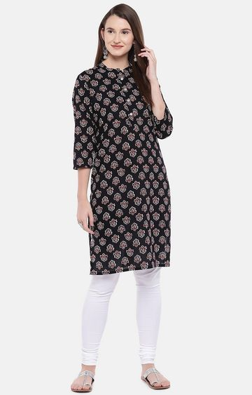 globus | Black Printed Regular Kurti