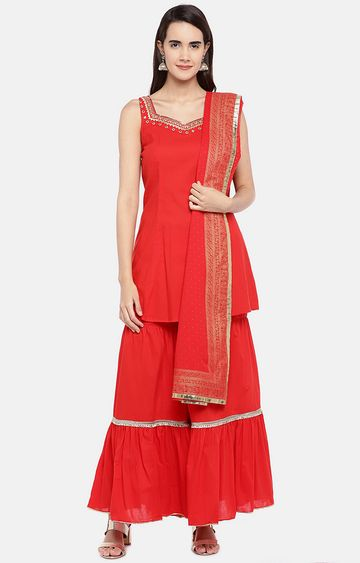 globus | Red Solid Regular Kurti