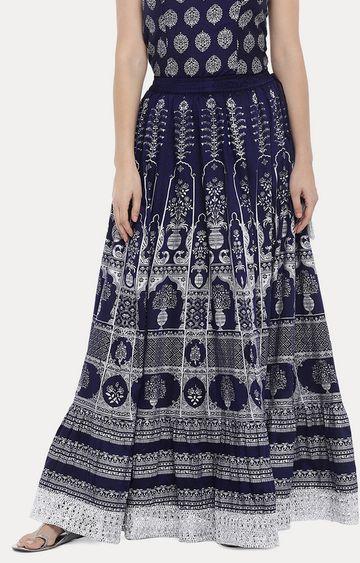 globus | Blue Printed Pleated Skirt