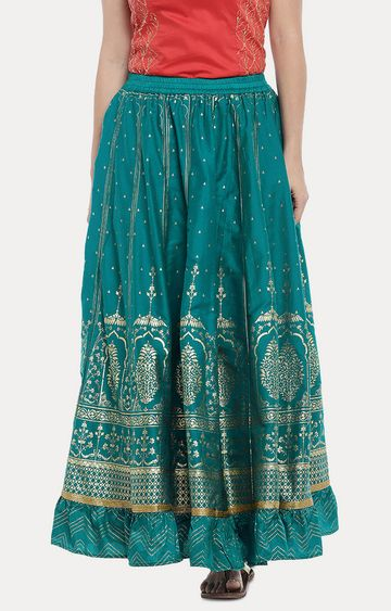 globus | Green Printed Pleated Skirt