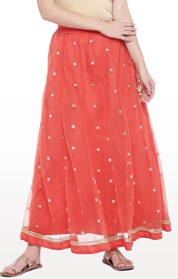 globus | Peach Embellished Flared Skirt