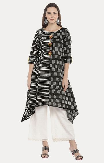 globus | Black Striped Asymmetric Kurta