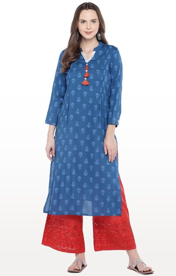 globus | Blue Printed Straight Kurta
