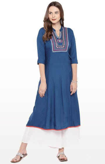 globus | Blue Yoke Design Anarkali Kurta