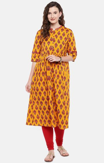 globus | Yellow Printed Anarkali