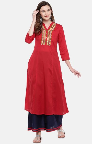 globus | Red Embroidered Anarkali