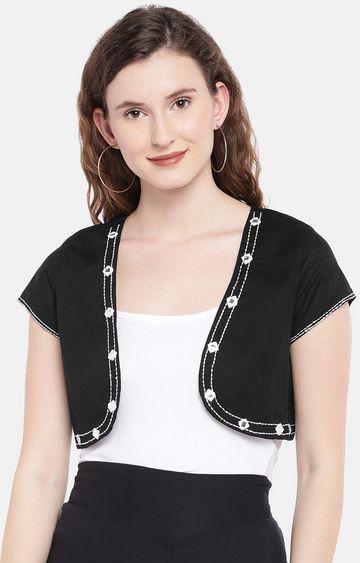 globus | Black Solid Open Front Jacket
