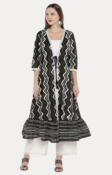 globus | Black Striped Ethnic Jacket