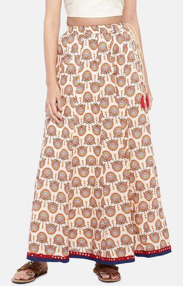globus | Beige Printed Flared Skirt